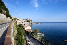 Strait of Messina and Sicily seen from Calabria. View of Strait of Messina seen from Calabria royalty free stock photography