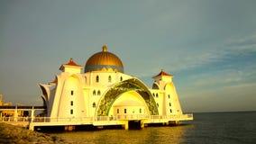 Strait mosque, Malacca Malaysia. Strait mosque located beside Strait of Malacca Malaysia Stock Photo