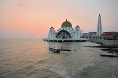 Strait mosque during sunset Stock Image