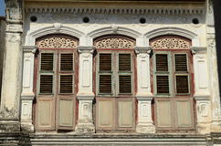 Straits Eclectic Heritage House. An example of a Straits Eclectic style shophouse in the UNESCO world heritage zone of Penang, Malaysia Royalty Free Stock Images