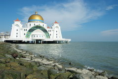 Straits Mosque. A straits Mosque standing tall in Malacca island Royalty Free Stock Photography