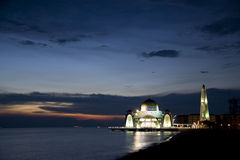 Straits Mosque at Dusk Stock Photography