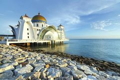 Straits Mosque, Malacca. The Straits Mosque on Pulau Melaka off the coast of Malacca in Malaysia Stock Image