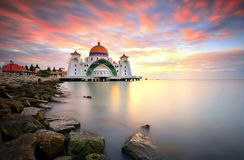 Straits Mosque, Malacca. Sunrise over Straits Mosque in Malacca Royalty Free Stock Photo