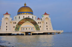 Straits Mosque, Melaka. The Straits Mosque on Pulau Melaka off the coast of Malacca in Malaysia Stock Photography