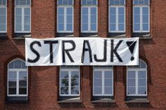 `Strajk` - a banner reading `strike` in Polish. Hanging during school teachers` protest royalty free stock photo