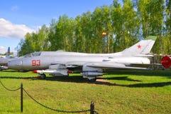Strajkowy wojownik Su-17M3 w siły powietrzne muzeum w Monino robi Moscow regionu Russia znaka myśli co ty Zdjęcia Stock