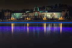 Strakas Academy at night in Prague Royalty Free Stock Images