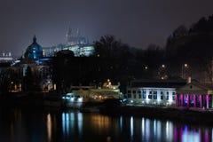 Strakas Academy and Prague castle at night Stock Photos