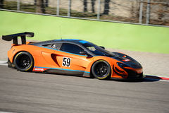 Strakka Racing McLaren 650S GT3 car at Monza. Strakka Racing team brings his McLaren 650S GT3 on track at the Autodromo Nazionale Monza, in occasion of 2017 test Royalty Free Stock Photography