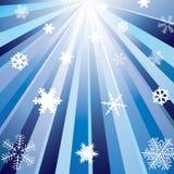 Stralen en sneeuwvlokken. Stock Foto