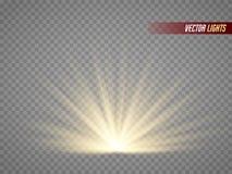 Stralen van Licht warm lichteffect Zonstralen op transparante achtergrond worden geïsoleerd die Stock Afbeelding