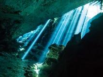 Stralen van zon binnen cenote Chac Mool stock foto