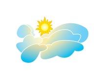 Stralende Zon en Wolken royalty-vrije illustratie