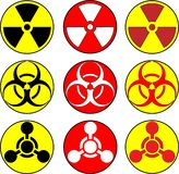 Straling, giftige en biohazzardpictogrammen vector illustratie