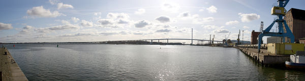 Stralsund with bridge to island Rügen Royalty Free Stock Images