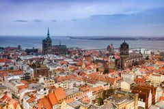 Stralsund. Historic town Stralsund and baltic sea in Germany from the sky Stock Photos