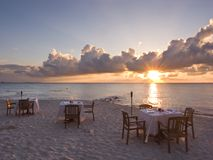 Strand-Abendessen Stockfoto