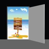 Strand achter deur vectordeel twee Stock Afbeeldingen