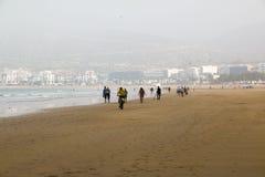 Strand in Agadir-Stadt in Marokko im Jahre 2016 Lizenzfreies Stockbild