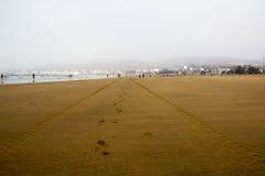 Strand in Agadir-Stadt in Marokko im Jahre 2016 Lizenzfreie Stockbilder