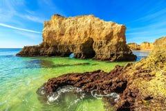Strand in Algarve gebied, Portugal Royalty-vrije Stock Fotografie