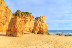Strand in Algarve gebied, Portugal Royalty-vrije Stock Foto's