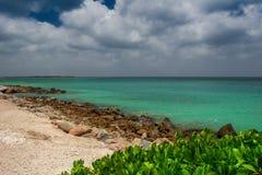 Strand in Aruba mit Türkisfarbmeer lizenzfreie stockfotos