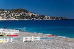 Strand auf französischem Riviera stockfoto