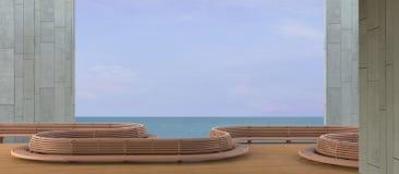 Strand-Aufenthaltsraum, sundeck und Seeansichtbalkon auf dem Winterurlaub/der Betonmauer stockfoto