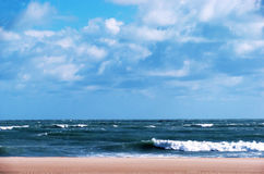 Strand av Chipiona i Cadiz Arkivbilder