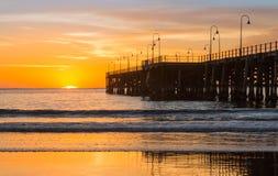 Strand av Coffs Harbour Australien soluppgång Royaltyfri Bild