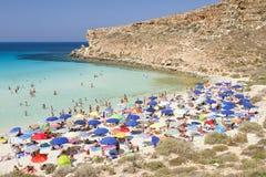 Strand av Conigli, Lampedusa arkivfoton