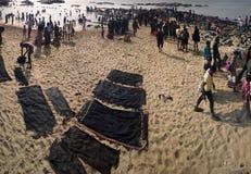 Strand av de tre haven eller den mest sydliga punkten av Indien Royaltyfri Fotografi