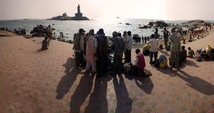 Strand av de tre haven eller den mest sydliga punkten av Indien Arkivbilder