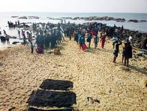 Strand av de tre haven eller den mest sydliga punkten av Indien Royaltyfria Foton
