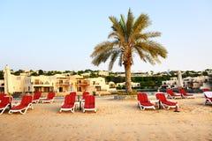 Strand av det lyxiga hotellet under solnedgång fotografering för bildbyråer