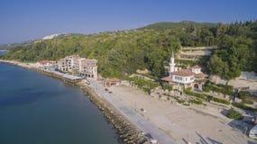 Strand in Balchik von oben, Bulgarien Lizenzfreies Stockfoto