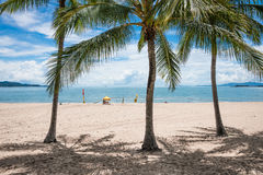 The Strand beach, Townsville, Australia. People enjoying a swim on tropical beach, The Strand, Townsville, Australia while a lifeguard keeps watch Stock Photos
