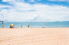 The Strand beach, Townsville, Australia. Swimming enclosure to protect from marine stingers and sharks on The Strand beach, Townsville, Australia Stock Photos