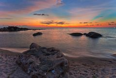 Strand bei Sonnenuntergang stockfoto