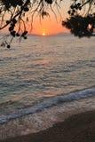 Strand bei Sonnenuntergang Lizenzfreie Stockfotos