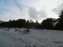 Strand bei Sonnenuntergang mit einigen Leuten stockbilder