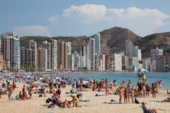 Strand in Benidorm, Spanien Lizenzfreies Stockfoto
