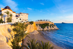 Strand Benidorms Alicante Mal Pas bei Sonnenuntergang in Spanien Stockbild