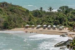 Strand bij het Nationale Park Santa Marta van Tayrona in Colombia Stock Foto's