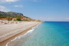 Strand bij hotel in Kiris (Kemer), Turkije Stock Fotografie