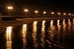 Strand bij Nacht Stock Foto
