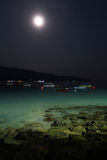 Strand bij Nacht Stock Afbeelding