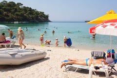 Strand bij Thassos-Eiland, Griekenland stock afbeeldingen